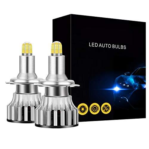 Perezy Bombillas de Faro LED H7, 24 CSP 8 Lados IluminacióN de Led de Coche de 360 Grados, 120W 18000LM 6500K Bombillas Antiniebla LáMparas AutomáTicas 2 Piezas