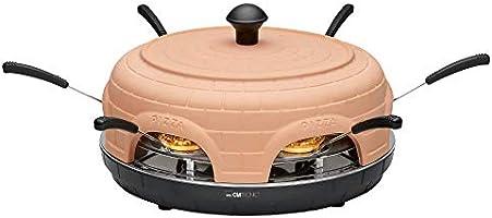 Clatronic PO 3682 Elektrische pizzaoven, 1100 W, voor 6 personen, terracotta kap, inclusief receptensuggesties, 6...