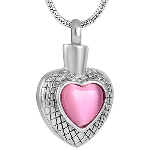 KBFDWEC Collar con Colgante de urna de Cenizas de corazón de Cristal de Acero Inoxidable para Mascota/ser Humano con Grabado