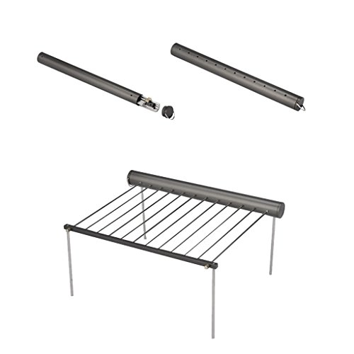 Gril Support de Barbecue BBQ Portable Amovible en Acier Inoxydable pour Camping Randonnée en Plein Air