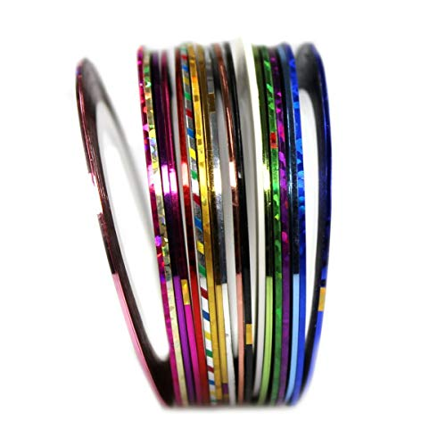 com-four® 10x Nagelzubehör Nageldesign Modellage Pediküre Maniküre Nail Art Stripes Tape Zierstreifen Packung mit 10 Rollen Striping Tape (10 Stück)