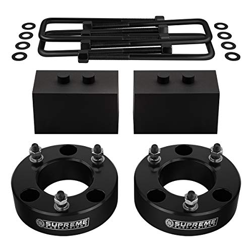 "Supreme Suspensions - Full Lift Kit for 2004-2008 Ford F-150 [2WD] 3.5"" Front Aircraft Billet Strut Spacers + 2"" Rear Lift Steel Blocks + U-Bolts (Black)"