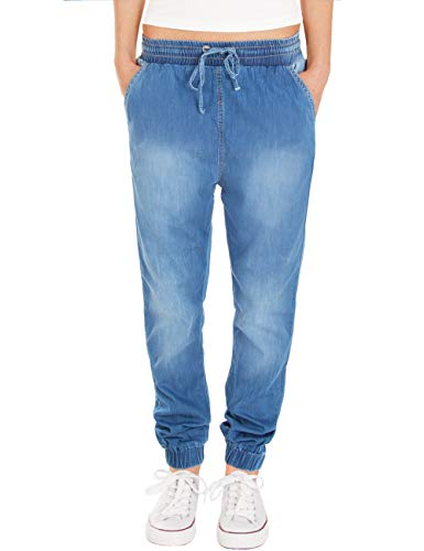 Fraternel Damen Stoffhose Jogg Jeans Pluderhose Blau XXL