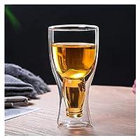 厚くなったメガネ二層ガラスの卵形のカップの絶縁家のコーヒーカップの水のカップジュースカップミルクカップ 625 (Color : 250ml beer glass)