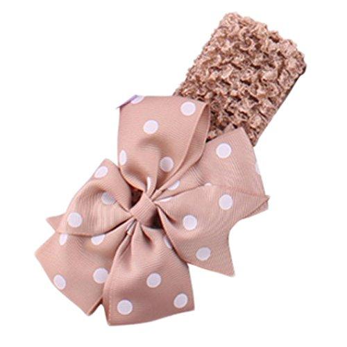 diademas bebe niña diademas bebe recien nacidos K-youth® Punto de ola bowknot banda para el pelo elasticas cintas de pelo bebe niña bautizo cinta para bebé para 0 meses a 4 años (Caqui)