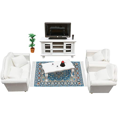 SAMCAMI Wooden Dollhouse Furniture Set - 1 12 Scale Miniature Dollhouse Living Room Set (16 Pieces), Couch, TV Cabinet, Coffee Table and Other Dollhouse Accessories (White)