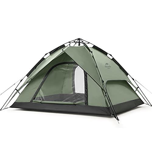 Naturehike Pop Up Zelt Wurfzelte Automatik Campingzelt 3 Personen Doppeldeck Kuppelzelt Großes Familienzelt mit Tragetasche (3 Personen Grün)