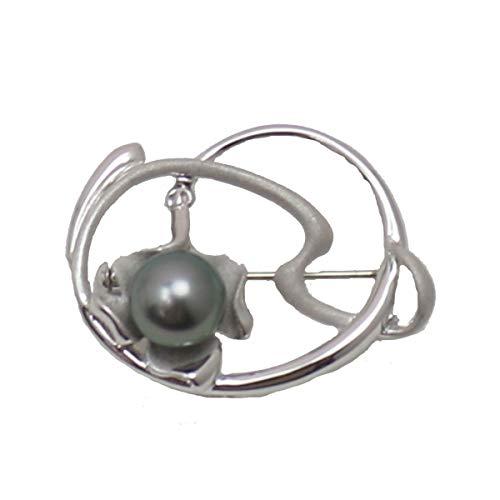 真珠 パール ブローチ 黒蝶真珠 パールブローチ 8.5mm-9mm カジュアル 冠婚葬祭 ブラックパール ブラックカラー 黒真珠 (No1)
