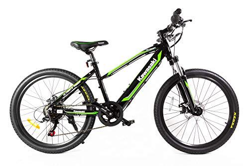 Kawasaki Bicicleta eléctrica infantil de 24 pulgadas, verde/negro, XS