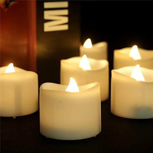 YINGJIN 【Quick Delivery】 12/24 Pcs Realistic Flameless Candles,Battery Operated Tea Candles Electric Timed Tealight Candles for Table Centerpieces Home Decor (12 Pcs, C)