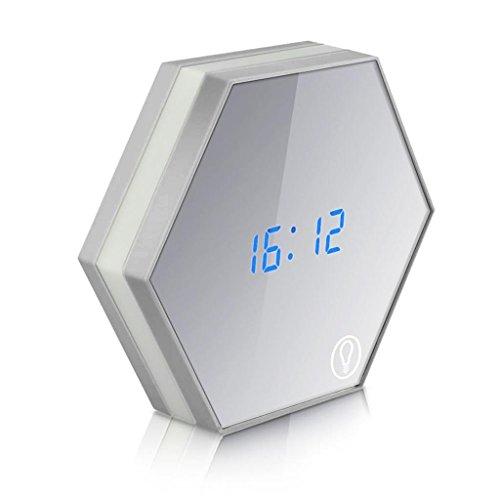 LQ-wall clock Relojes de Pared Multifunción electrónica LED Reloj de Pared con luz Nocturna Espejo Pantalla Digital Reloj Despertador Snooze Termómetro emisor de luz, A