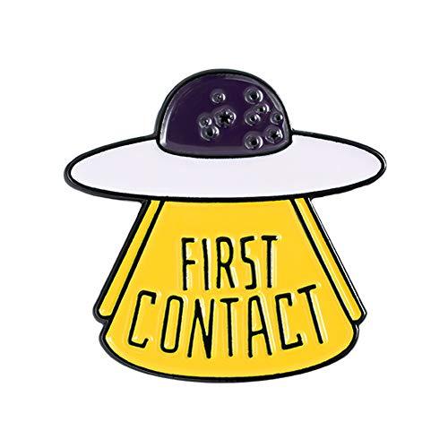 Elibeauty Know The Space First Contact Set Kreative Cartoon Brosche Pin Badge Pin Fun Raumschiff fliegende Untertasse Astronaut Serie Hut Schmuck Geschenk | Brosche gelb