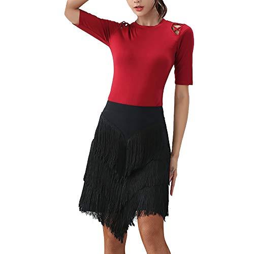 Frauen Schwarze Langarm-Split Leg Latin Tango Cha Cha Tanz-Kleid Kostüme Schwarz,Burgundy,XXL