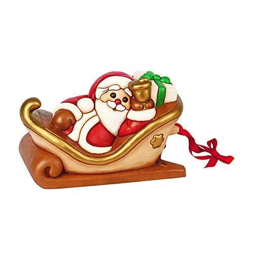 THUN ® - Slitta Con Babbo Natale Grande - Ceramica - L 30 Cm - Linea I Classici