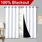 NICETOWN White 100% Blackout Lined Curtains, 2 Thick Layers Completely...