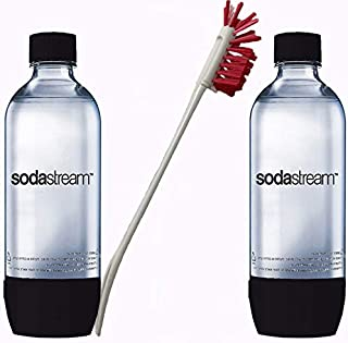 Sodastream 2 Pack Black Original Premium 1 Liter Carbonating Reusable Bottles 1L Soda Stream Water Bundle with Kidscare Bottle Cleaning Brush