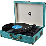 Turntable Record Player Wireless Portable LP Phonograph with Built in Stereo Speakers USB SD 3-Speed Belt-Drive Vinyl Record Player