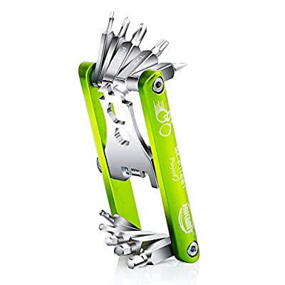 Jakemy Bike Repair Tool Kit - 11-function Bike Multi Tool for Mountain Outdoor Biking and Cycle Repair Chain Tool with Spoke Wrench, Multi Screwdrive with Hex, Phillips