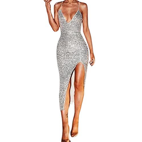 Frauen Sexy Bodycon Pailletten Kleid, Silber Tiefem V-Ausschnitt Spaghetti Strap Low Back High Cut Rock Glitzer Abend Party Hochzeit...