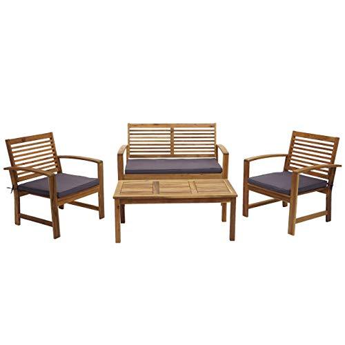 Mendler Gartengarnitur HWC-E99, Sitzgruppe Balkon-Set Lounge-Set, Akazienholz massiv - Kissen dunkelgrau