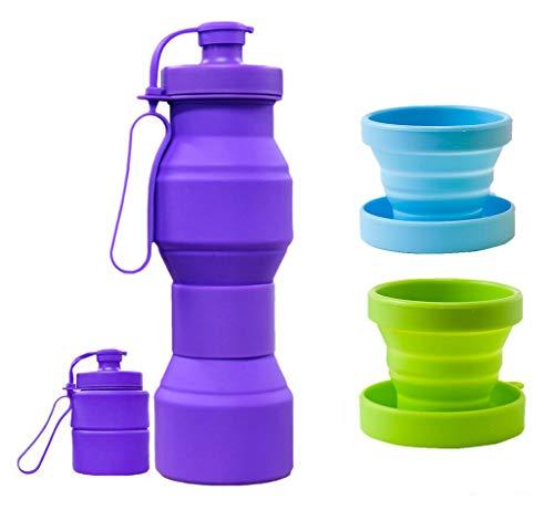 CHRISLZ Botella de agua plegable BPA Botella de silicona a prueba de...