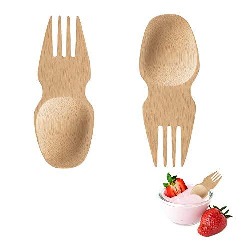 Combinación de tenedor y cuchara Vajilla para niños Tenedor cuchara creativa Cuchara de madera Cuchara de tenedor exterior de bambú Vajilla portátil multifuncional Equipo de viaje bamboo spork(2 pcs)