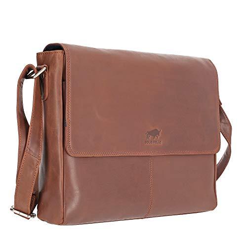 Solo Pelle Business Messenger Tasche/Umhängetasche College Tasche aus echtem Leder Model: Henry 15 Zoll in Braun