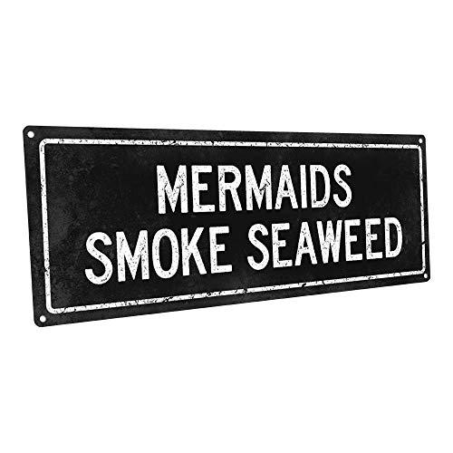 Zwarte zeemeerminnen rook zeewier metalen bord muur Decor voor strand huis