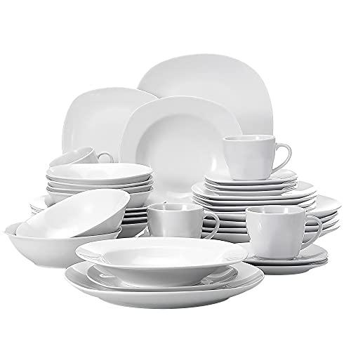 MALACASA Série Elisa, 36 Pcs Service de Table Porcelaine,Services Complets à Dinner, 6 Pcs * Assiette Plat, Assiette Creuse, Assiette à Dessert, Tasse, Soucoupe et Bol à Céréale