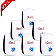 Ultrasonic Pest Repeller 6 Packs, Electronic Pest Repeller ultrasonic Plug in Indoor Pest Repellent for Mosquito, Insects, Cockroaches, Mouse, Bug, Spider, Ant, Harmless to Humans and Pets