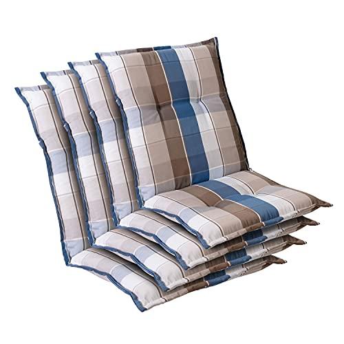 Homeoutfit24 Prato - Cojín Acolchado para sillas de jardín, Hecho en Europa, Respaldo bajo, Resistente a los Rayos UV, Poliéster, Relleno de Espuma, 103 x 52 x 8 cm, 4 Unidades, Azúl/Marrón