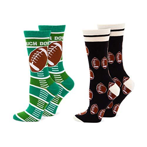 Football Crew Socks for Men and Women, Novelty Socks (One Size, 2 Pairs)