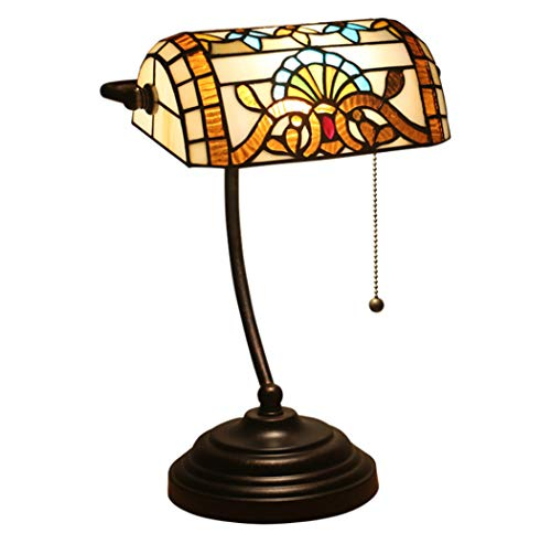 Stijl van Tiffany Tafellamp Banker 15,3 Inch Tall Europese Retro Bank Lamp Stained Glass Lampekap voor Coffee Table Bureau Dresser Boekenkast Living Room Verlichting, 110-240 V, E27 (27 × 39cm)