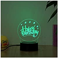 3Dイリュージョンナイトライト 誕生日おめでとう キッズ3Dナイトライトベッドサイドランプおもちゃライト7色変更コントロール男の子のための最高のクリスマスと誕生日プレゼント子供