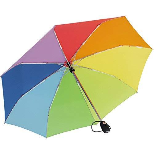 iX-brella Leichter Solider Taschenschirm mit Auf-Zu-Automatik - mid Class - Regenbogen