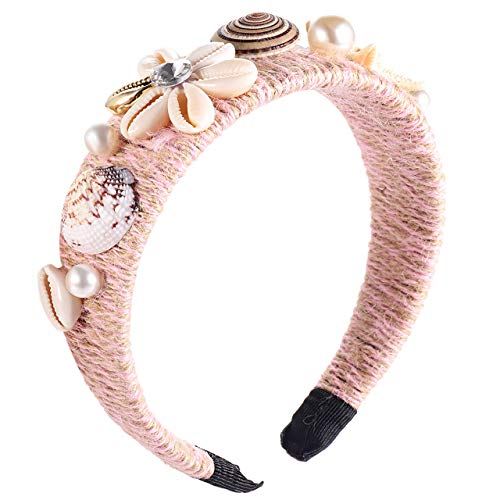 XOCARTIGE Seashell Headbands for Women Conch Starfish Wrapped Wide Headbands Hair Accessory for Girls (Pink)