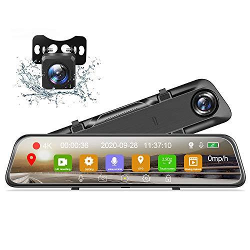 Cámara de Coche, Podofo Mirror Dash CAM 12' IPS Pantalla Táctil FHD 1080P Cámara de Espejo retrovisor de Doble Lente, grabación en Bucle, Visión Nocturna, Monitor de Aparcamiento