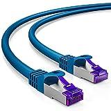deleyCON 3m RJ45 Patchkabel Ethernetkabel Netzwerkkabel mit CAT7 Rohkabel S-FTP PiMF Schirmung Gigabit LAN Kabel SFTP Kupfer DSL Switch Router Patchpanel - Blau