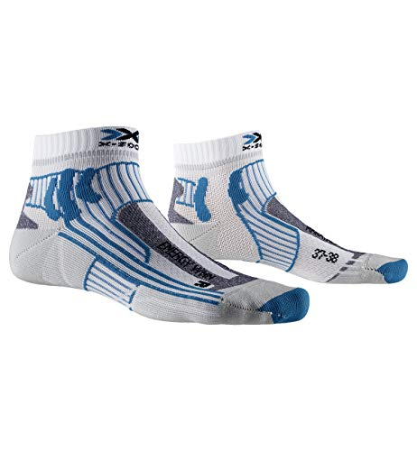 X-Socks Marathon Energy Women Chaussette Femme, Blanc/Turquoise, FR : S (Taille Fabricant : S: 35-36)