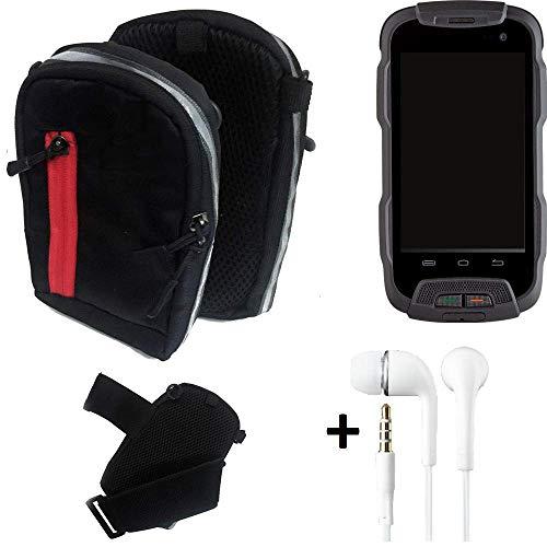 K-S-Trade® Outdoor Gürteltasche Umhängetasche + Kopfhörer Für -Cyrus CS 23- Schwarz Handytasche Case Travelbag Schutzhülle Handyhülle