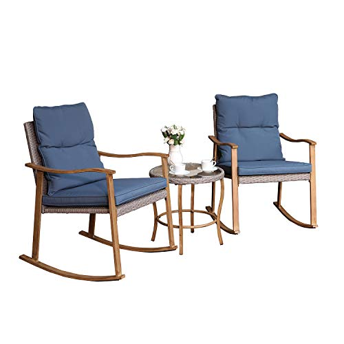 COSIEST 3 Piece Bistro Set Patio Rocking Chairs Outdoor Furniture Faux Woodgrain w Cobalt Blue Cushions and Round Glass-Top Table for Garden, Pool, Backyard
