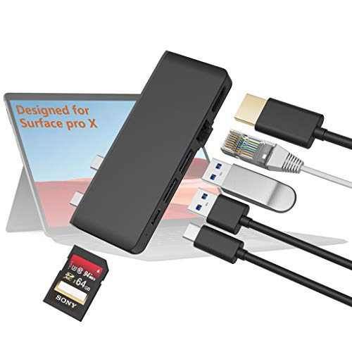 Surface Pro X Hub Docking Station with 4K HDMI Adapter+1000M Gigabit Ethernet LAN+USB C Audio & Data Transfer Port +USB 3.0 * 2+SD/TF(Micro SD) Card Reader Adaptor para Microsoft Surface Pro X