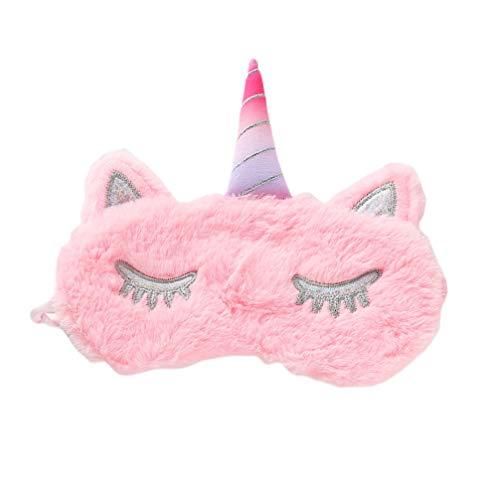 Amosfun Máscara de ojos de felpa para dormir unicornio brillo cuerno cubierta de ojos sueño animal con los ojos vendados para viajar dormir rosa