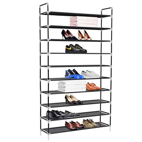 AYNEFY - Zapatero con 10 estantes - Juego de zapatero apilables de metal - Montaje plano o esquinero - 100 x 29,5 x 170 cm