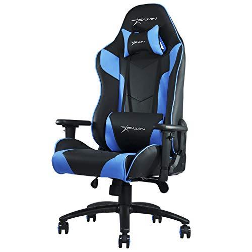 E-WIN ゲーミングチェア CP-BC5B(青) オフィスチェア 前傾機能 リクライニング 肉厚 高さ調整 通気性 腰痛 椅子 前傾チルト 最大荷重150kg