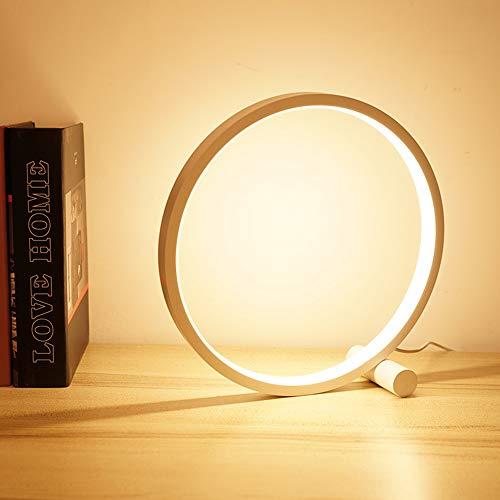 Dailing Kreis Tischlampe, Cool Circle Schlafzimmer LED dimmbar Tisch Leselicht Modern Metall Warm Weiß Schreibtisch Leselampe Nachttisch Nachttisch Wohnzimmer Büro Kinder Studie Lampe