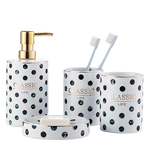 LWSJP Accesorios de baño Set de baño de Accesorios Completa la dispensador de jabón con Cepillo de Dientes Titular Vaso Jabonera Clásica