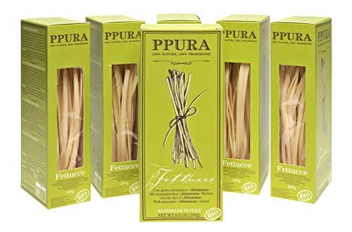 Nudeln Großpackung - 6 x 250g, italienische Spezialitäten Lebensmittel, kulinarische Geschenke, PPURA handwerklich hergestellte BIO Hartweizengriess Pasta / Fettucce