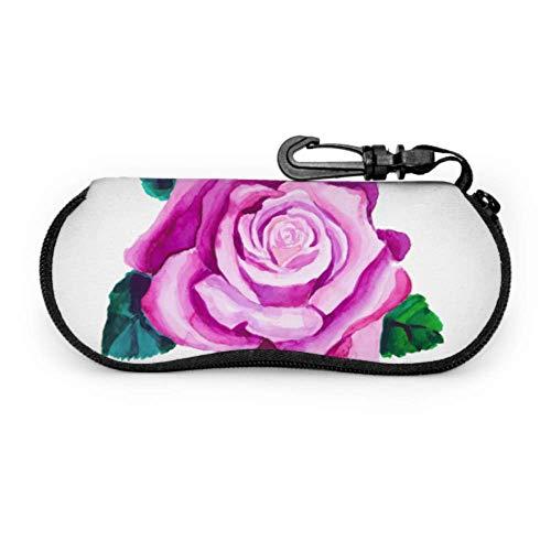 Beautiful Purple Rose Flower Lightweight Sunglasses Case Woman Eyeglass Case Light Portable Neoprene Zipper Soft Case Soft Eyeglass Case For Women
