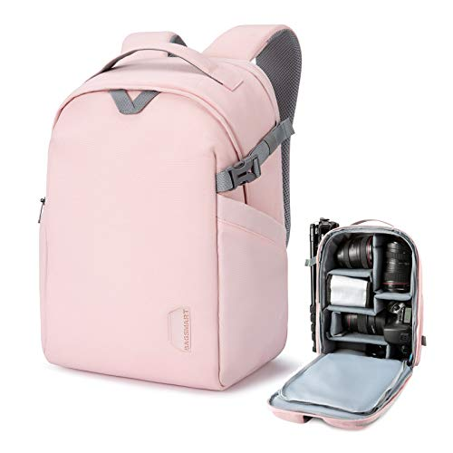 BAGSMART Camera Backpack, DSLR SLR Camera Bag Fits up to 13.3 Inch Laptop Water Resistant with Rain Cover, Tripod Holder for Women and Girls, Pink